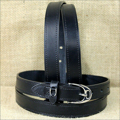 Medium Size Noble Outfittters Classic Leather Equus Charm Belt Black