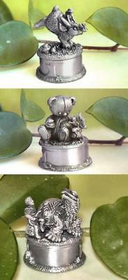Pewter First Curl Keeper Box, Bunny or Bear or Turtle