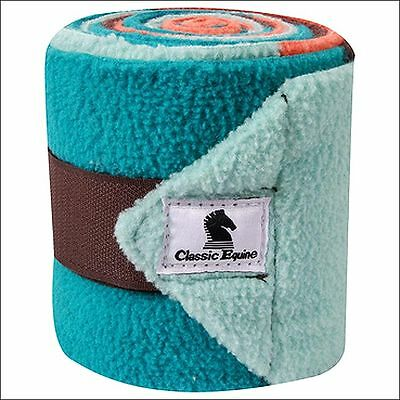 Coral Teal Color Block Classic Equine Tack Horse Polo Leg Wraps Set Of Four