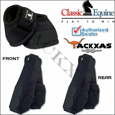 Medium Black Classic Equine Front Rear Legacy Sport Horse Leg No Turn Bell Boots
