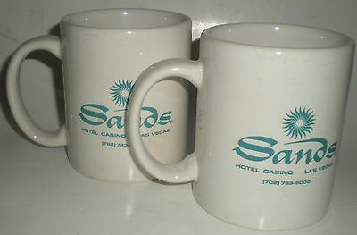 2 Mug Coffee Tea Cup Sands Hotel Casino Las Vegas Double Sided Great Condition