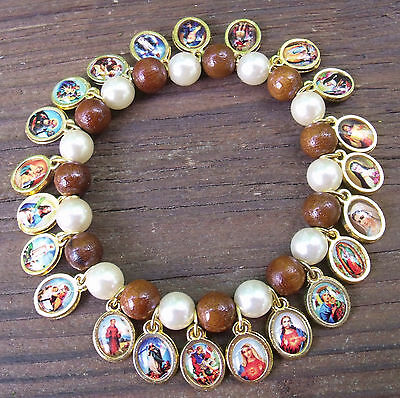 New Brown Wood White Glass Pearl Catholic Religious St. medals stretch bracelet