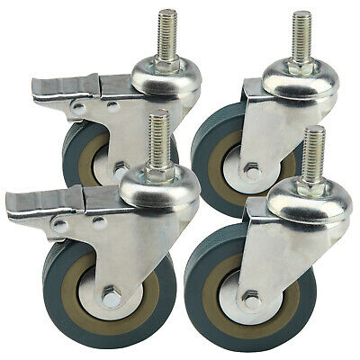 4 x Heavy Duty 75mm Rubber Swivel Castor Wheels Braked Trolley Furniture - Screw
