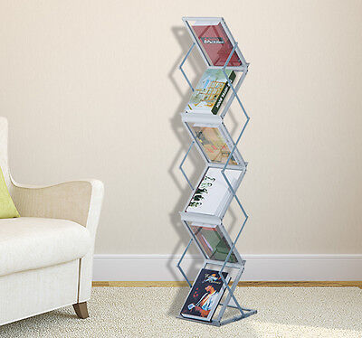 6 Pocket Brochure Holder Magazine Display Literature Rack Stand Potable Folding