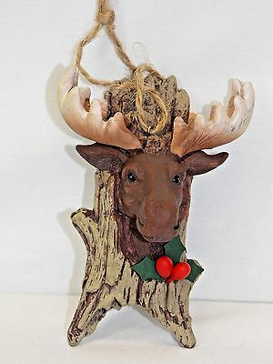 Moose Head on a Wood Log w/Holly Christmas Tree Ornament Resin Material 4In