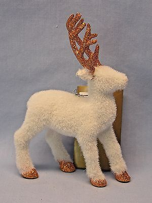 Standing White Deer w/Metallic Sparkley Trim  Christmas Tree Ornament 6 In tall