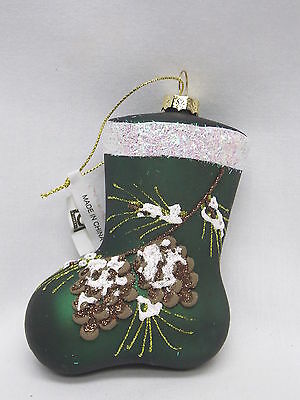 Green Stocking w/Pine Cones Sparkley Glass Christmas Tree Ornament 4In New w/tag
