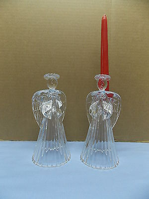 Clear Glass Pair of 2 Angel Candleholders 7 In tall Holder in the back