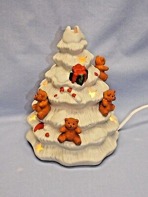 Teddy Bears & Gifts White Porcelain Christmas Tree Electric Clip Cord & Bulb