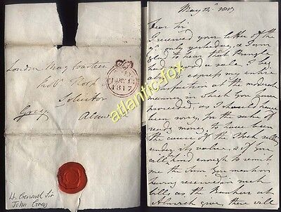 1817 LONDON FREE Letter from Lt. General Sir John Grey to Alnwick