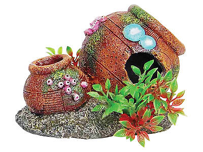 Aquarium Pot Vase Fish Cave with Artificial Plants Urn Fish Tank Ornament