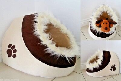 New Warm And Cosy Fleece Igloo Pet Bed with Fur Trim For Dog/Puppy/Cat/Kitten