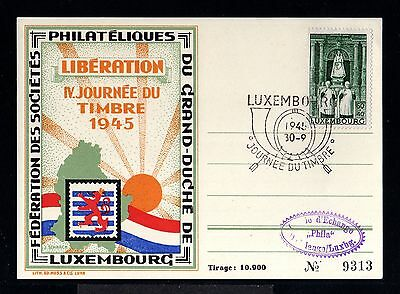 11204-LUXEMBURG-limite edition CARD.Pro LIBERATION,journee du timbre.1945.WWII