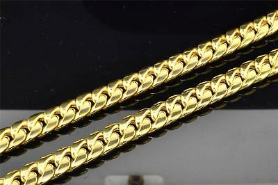 10K Heavy 9.44MM Yellow Gold Miami Cuban Link Franco Chain Necklace 36 Inch