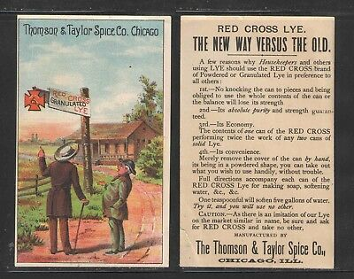 1890s RED CROSS LYE THOMPSON & TAYLOR SPICE CO CHICAGO VICTORIAN TRADE CARD