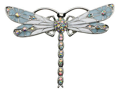 Dragonfly Pin Brooch Gorgeous AB Aurora Borealis Crystal