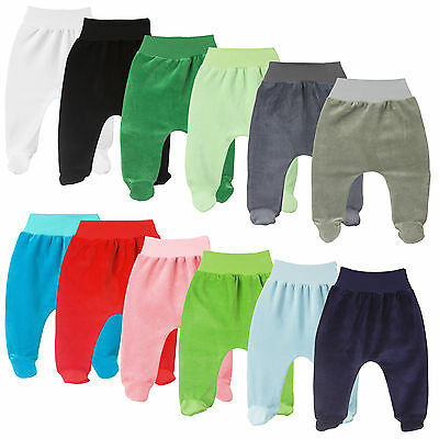 Velour Baby Girls Boys Cosy Soft Leggings Trousers With Feet NB-12 Months
