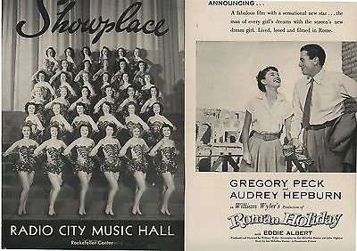 2 Old 1953 Radio City Music Hall Showplace Brochures