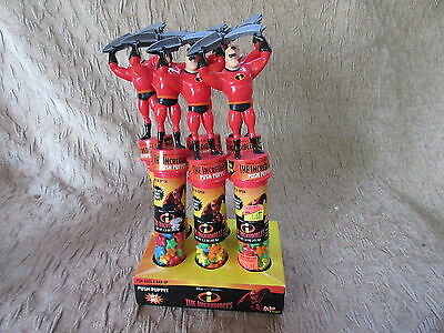Set of 6 2004 The Incredibles Disney Pixar Push Puppet Candy Containers
