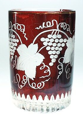 Duncan and Sons - 6 oz Ruby Stained Tumbler with Etching