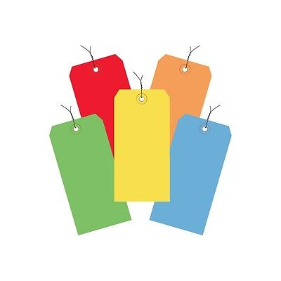 """""""Shipping Tags, Pre-Wired, 13 Pt., 4 3/4"""""""" x 2 3/8"""""""", Assorted Color, 1000/Case"""""""