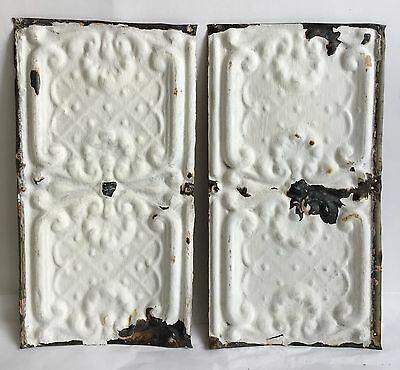 "2-6.5""x 12"" Antique Tin Ceiling Tile*SEE OUR SALVAGE VIDEOS* Vintage White TR23"