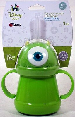 Sassy Disney Pixar Monsters Inc MIKE WAZOWSKI STRAW CUP 10 ounce NEW University