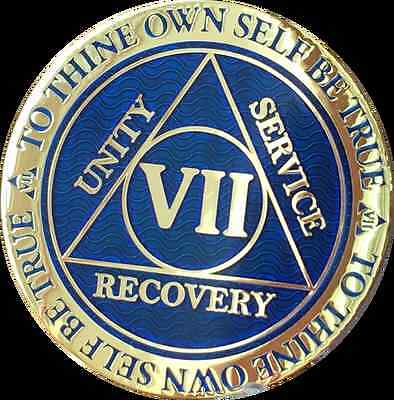 7 Year AA Medallion Blue Gold Plated Alcoholics Anonymous Sobriety Chip Coin