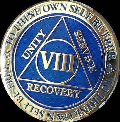 8 Year AA Medallion Blue Gold Plated Alcoholics Anonymous Sobriety Chip Coin