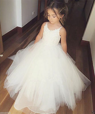 Flower Girl Princess Dress Kid Party Pageant Wedding Bridesmaid Tutu Dresses &&&