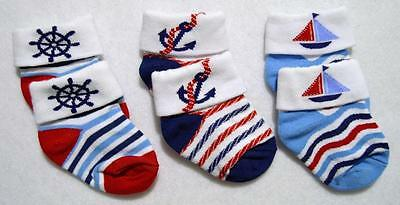 Infant Baby Boys 0-6M Nautical Stretch Socks~Ships Wheel , Anchors, Sailboats