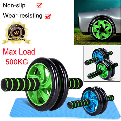 Ab Abdominal Roller Exercise Wheel Gym Fitness Body Strength Training + Knee Pad