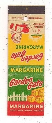 Garden Gate Margarine 4 Yellow Quarters Matchcover 062116