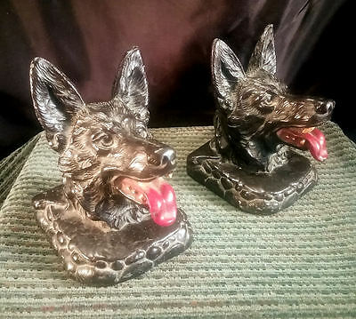Pair Black Dog (Shepherd ?) Bookends ~ Bright Red Tongue ~ Fine Metal Casting