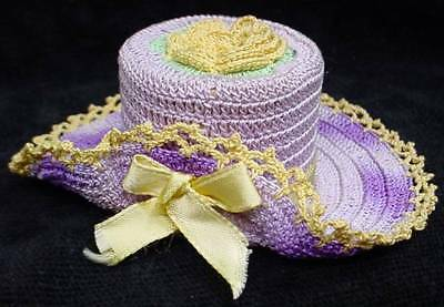 Old Hand Crocheted Easter Bonnet Hat Pin Cushion Novelty Decoration