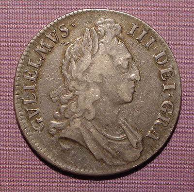 1695 KING WILLIAM III SILVER CROWN - 1st BUST 1st Harp