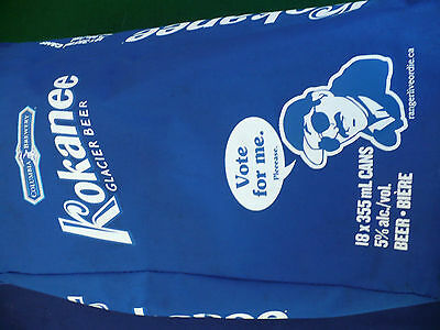 "Kokanee glacier beer ""vote for me"" insulated cooler knapsack carry bag holds 18"