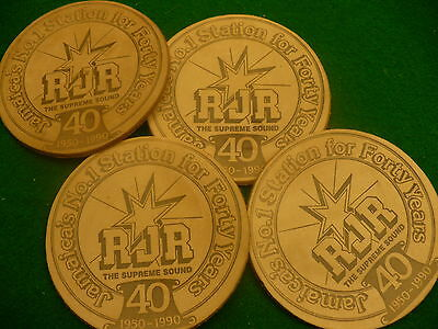 Jamaica radio station RJR 40 year anniversary 150-90 leather coasters container