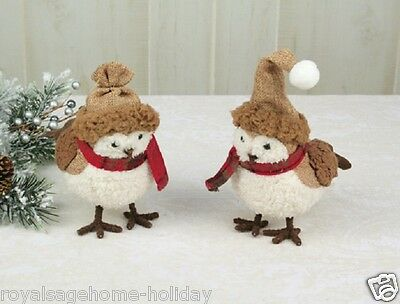 34156 Crimson Burlap Bird Christmas Ornament Decoration Brown Cream Winter Chick