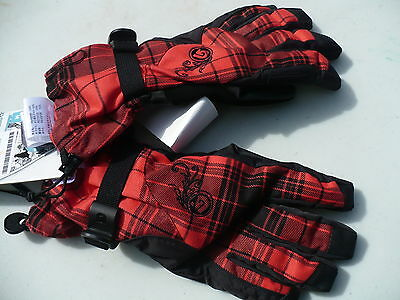 Burton ladies gloves lined dry ride ultra shell adjustable wrist plaid NEW