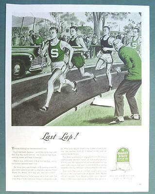 Original 1945 Quaker State Ad LAST LAP....OIL IS AMMUNITION.. USE IT WISELY