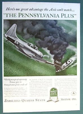 Original 1942 Quaker State Ad THE AXIS CANT MATCH THE PENNSYLVANIA PLUS