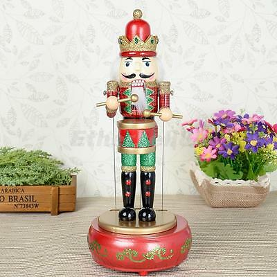 Glittery Painted Wooden MUSICAL Box MOVING TOY Drummer NUTCRACKER 33cm TALL