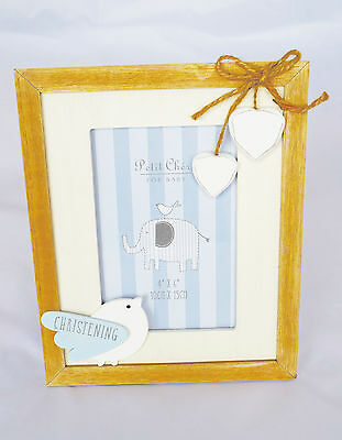 Boy Christening Day Photo Frame New Baby Blue Wooden Shabby Chic Picture Gift
