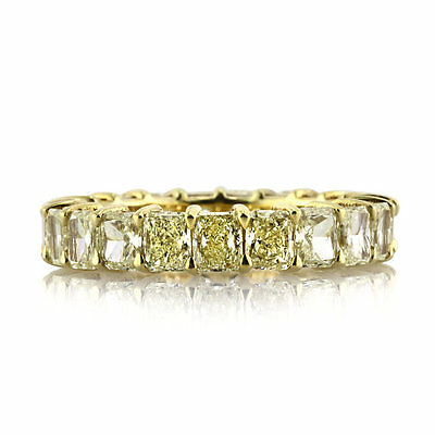 4.70ct Fancy Yellow Radiant Cut Stone Eternity Band in 14K White Gold