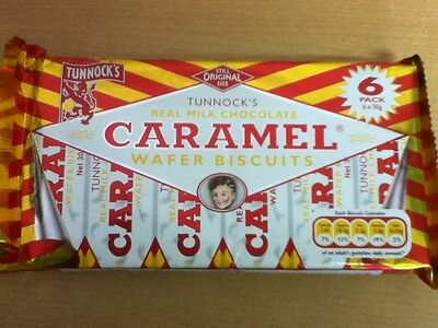 Pack Of 6 Tunnocks Caramel Wafer Biscuits - British Biscuits - Ship World Wide