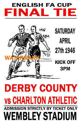1946 Fa Cup Final - Derby County (Winners) V Charlton - Vintage Style Poster