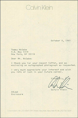 Calvin Klein - Typed Letter Signed 10/09/1981