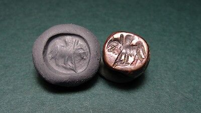 SASSANIAN BRONZE BEAD HORSE RIDER ENGRAVED IMAGE 4th CENTURY AD