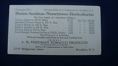 A H Friedman tobacco products price list advertising trade card blotter #102